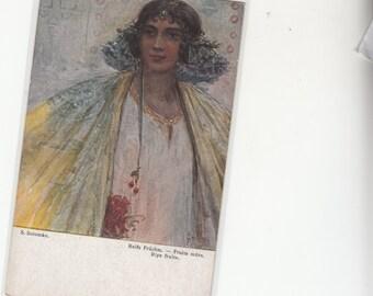 "Artist S. Solomko Sensual Woman ""Ripe Fruits"" Antique Unused Postcard"