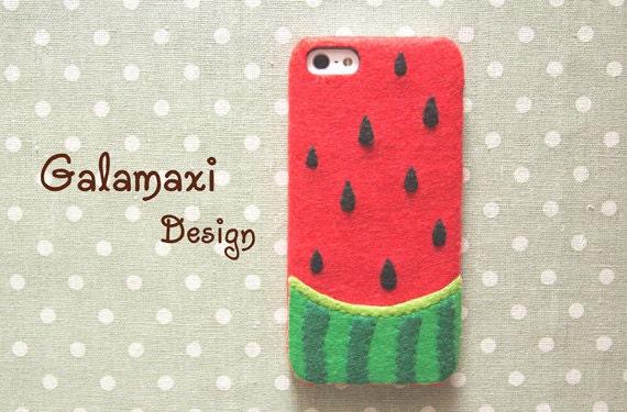 Handmade Felt Watermelon iPhone Case, Watermelon Case for iPhone 6S, Watermelon iPhone 6S Plus Case, Red iPhone Case, Custom Phone Case