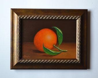 Original 5x7' small still life painting, tangerine painting, orange miniature, clementine, kitchen, tiny fruit painting, food, tangerines