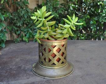 Brass cut-out planter