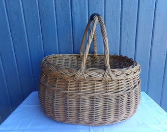 Very large French vintage wicker basket, gathering panier, rustic country home decor.
