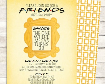 Friends Tv Show Invitation Friends Party Birthday Party