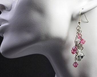 Pink, Silver and Grey Cascade Earrings