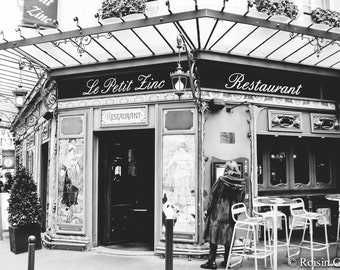 Paris cafe, Paris restaurant, Paris photo print, Paris Photography, Paris Wall Art, Paris print, Paris decor, Paris black and white