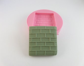 brick wall.  Flexible Silicone mold mould. Chocolate Fondant candy Hot glue, resin, polymer clay . Natu mold
