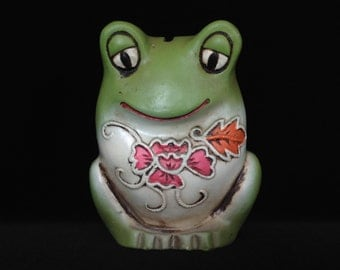 frog chalkware bank green vintage piggy bank toad coin bank children bedroom decor bank collectible froggy figurine ribbit