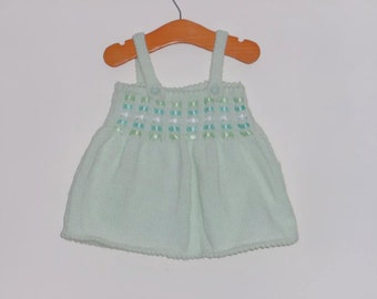 Mint knitted dress with ribbon detail