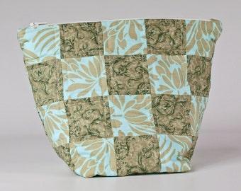 Large patchwork green quilted fabric make up, cosmetic bag, toiletry bag, wash bag