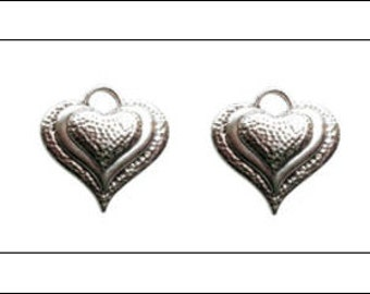 4 Puffed Heart Pendants, antique silver finish, jewellery making, hearts, jewelry making, UK seller, heart, love charms