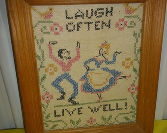 "Vintage Needle Point/ ""Laugh Often- Live Well/Couple Dancing"