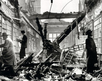Library Destroyed by Air Raid Poster, Bombing Damage, World War II