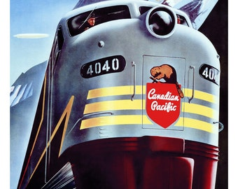 Canadian Pacific Railway Poster, Locomotive, Travel by Train, Vintage Travel Poster