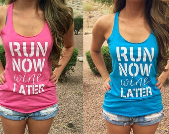 Running Tank. Run Now Wine Later Tank. Cute Workout Tank. Running Shirt. Gym Tank Top. Exercise Tank. Womens Workout Tank.