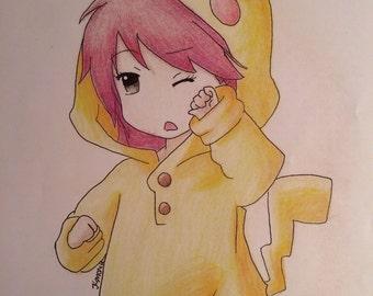 Kawaii Anime Girl in Pikachu Onesie Art Print!