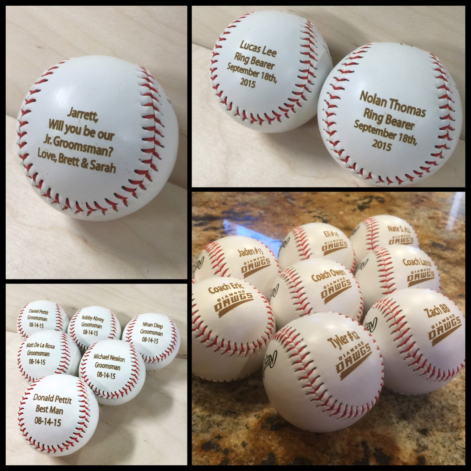 Baseball Wedding Gifts: Engraved Baseball, Ring Bearer Gift, Groomsman Best Man
