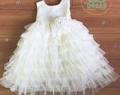 New baby kids ivory lace layered spring, fall dress, baby easter dress, flower girls dress,