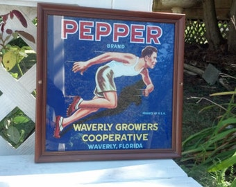 Vintage Pepper Brand Citrus Fruit Label Framed 1940s
