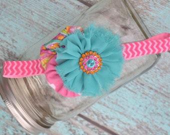 Pink & Teal Paisley Yoyo Headband