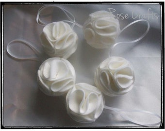 Set of 5 handmade white felt christmas decorations baubles