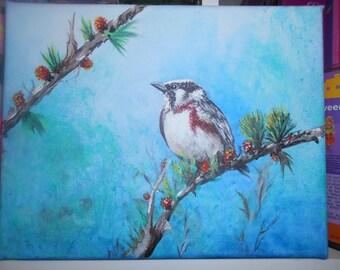 Chickadee Bird acrylic on canvas painting
