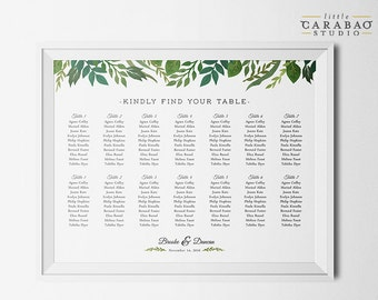 PRINTABLE Wedding Seating Chart Sign Table Assignment Botanical DIGITAL Seating Chart Poster - Little Carabao Studio - #EF108
