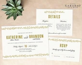 DIGITAL Wedding Invitation Set PRINTABLE Botanical Wedding Invitation Set - DIY Digital Invitation Suite - Little Carabao Studio - #011
