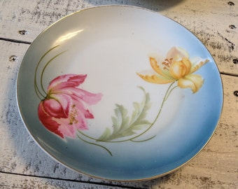 """Vintage Plate  Handpainted Germany Pink and Yellow Flowers 8"""""""