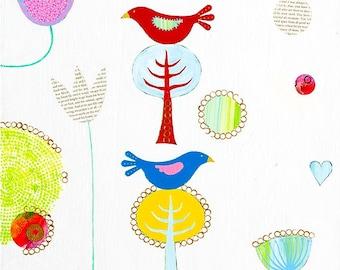 Bird art print, folk art, bird giclee print, contemporary bird painting, animal art, bird art, bird painting, bird on a tree, bird collage.