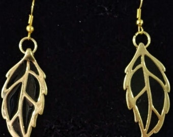 Gold and black leaf earrings