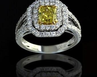 1.71 ct Cushion Cut Fancy Yellow Diamond Engagement Ring in 18K Gold - BAJ-63