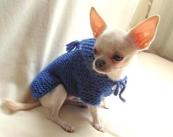Royal Blue Dog Hoodie | | Chihuahua Clothing | XXS Dog Clothes | Button Dog Sweater by BubaDog