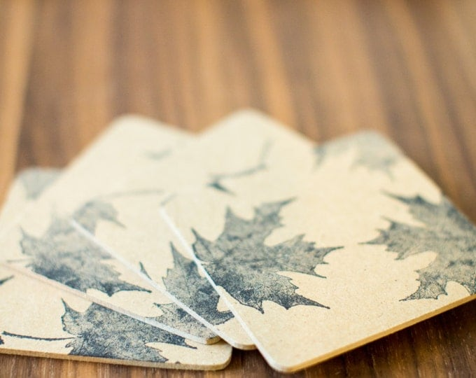 Autum Leaf Coasters 6 Pack - handmade, hand stamped, fall, autumn, leaf, leaves, party favors, gifts, rustic, flat rate shipping