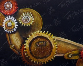 Gears 15x10 in. Pastel Drawing on Black Paper, 2013