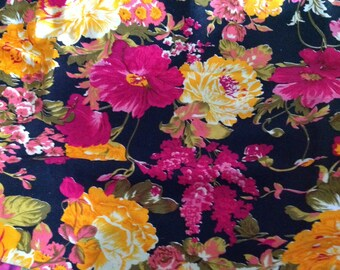 Multicolour Indian flower Cotton Fabric,Indian Cotton Fabric, Indian Fabric,  Yellow Printed Fabric, cotton Dress Fabric, Fabric By The Yard
