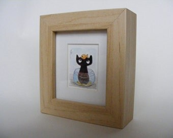 Little One's swimming lesson. Watercolour black cat painting by Fiona Quinn. Handpainted, mounted and framed.