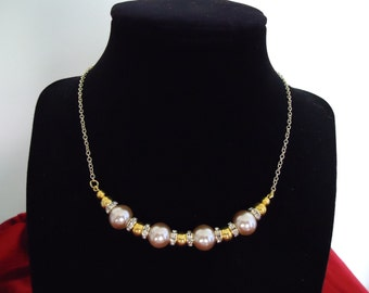 Champagne Glass Pearls and Crystal Rondelles Necklace