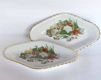 Set of 2 French Vintage Small Porcelain Serving Dishes - Crudite dish - Platter - Retro Serving and Dining - Transferware