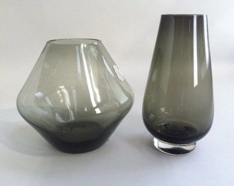 Two Modern Smoke Glass Bud Vases