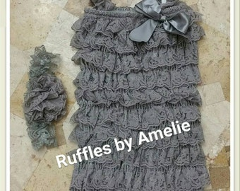 Lace Petti Romper & Lace Headband in Gray - Baby Lace rompers - 31 COLORS - Size NB to 12M. Ready to Ship.