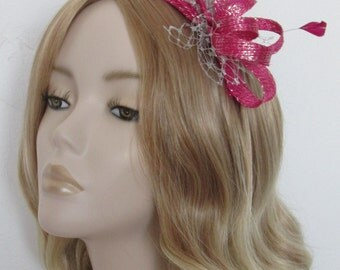 CERISE and SILVER LUREX Fascinator, Silver metallic net, feathers,on a comb