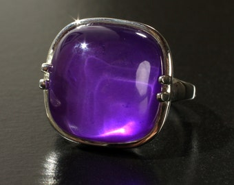 SALE! Sterling Silver Cabochon Dyed Purple Mother of Pearl Ring with White Quartz Top US Size 7