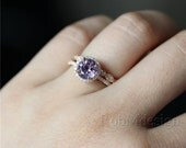 14K Rose Gold Lavender Amethyst Engagement Ring Set 7mm Round Amethyst Ring Full Eternity Diamond Wedding Band (Color Of Amethyst Is Random)