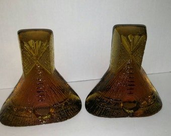 Vintage Set of Amber Glass Teepee Bookends / Yellow Glass Blenko Bookends / Heavy Glass / Tipi Bookend