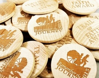 Customized 1.5 in lasered wood coins (Bulk)