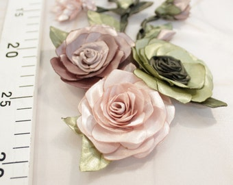 Handmade ribbon flower applique #0102