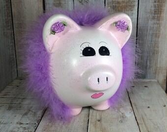 Pink Piggy Bank, Pig Bank, Purple Piggy Bank - Baby Shower Gift, Coin Bank, Baby Bank, newborn gift, girls piggy bank, ceramic piggy bank