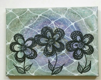 SALE - 20% OFF - Flower Zentangle Art - Abstract Painting - Acrylic Painting - Original Painting - Floral Wall Art - Unique Home Decor