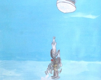moon gazing in water. Original artwork on paper by Nathanial Graham