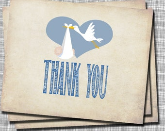 Stork and Baby Boy thank you note card, _57