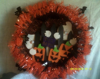 Ghost Behind Fence, BOO Wall Hanging/Wreath